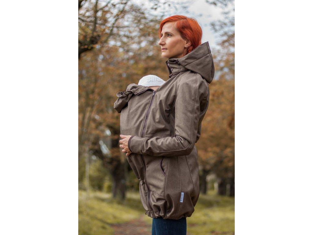 Kabát na nošení dětí - barva hnědý melír