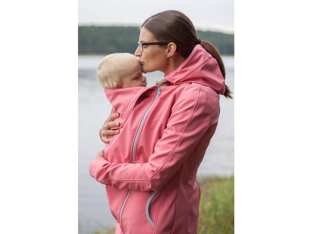 Babywearing softshell coat- salmon pink, vel. XS